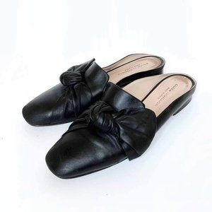 club monaco tatelyn leather bow slip on mule flats - size 39.5